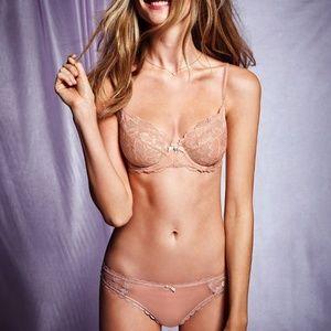 Victoria's Secret Beige Lace Bra & Cheekini Set